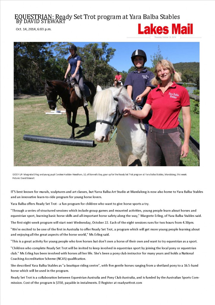 Lakes Mail Article with Pic 16 October 2014